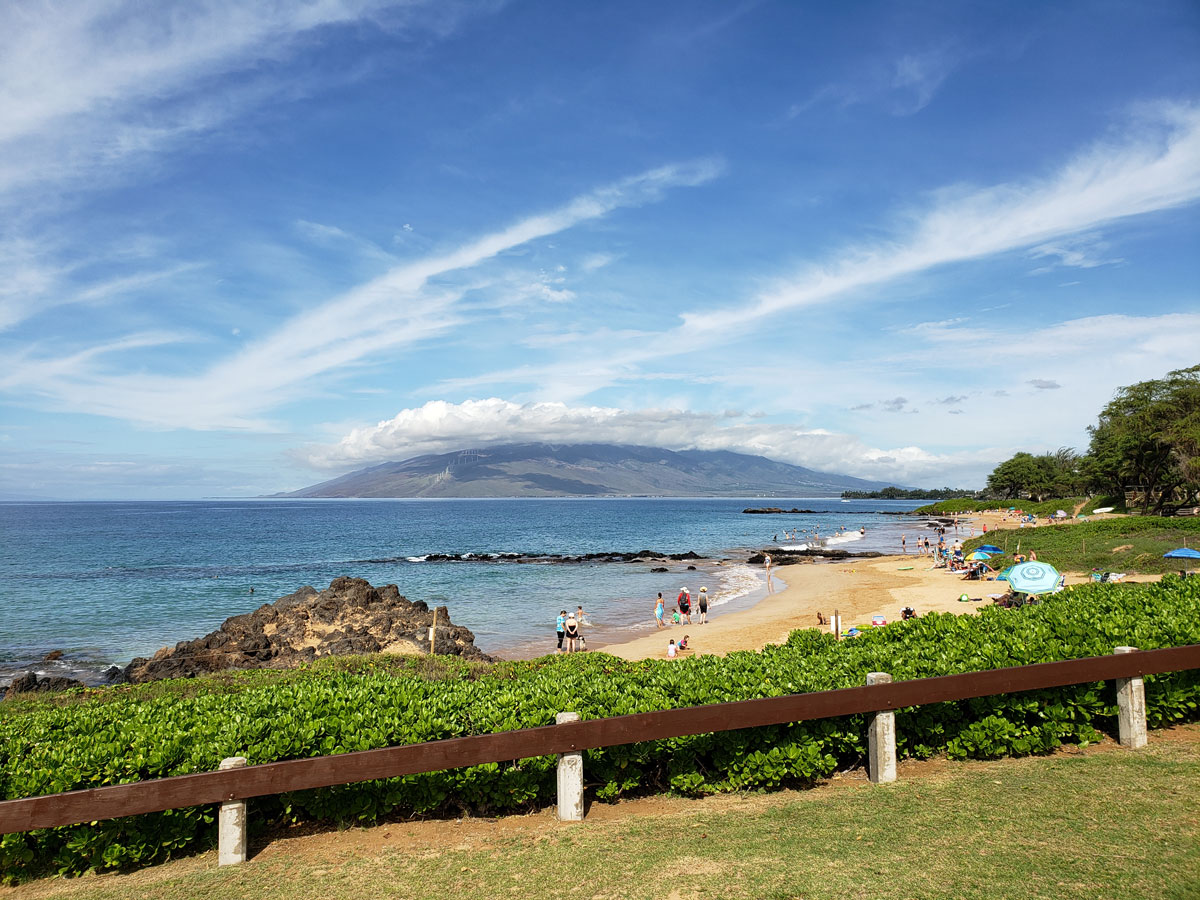 Kam 3 beach and viewing the W. Maui mountains