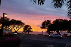 Driveway entrance to Kamaole Sands resort and a gorgeous sunset