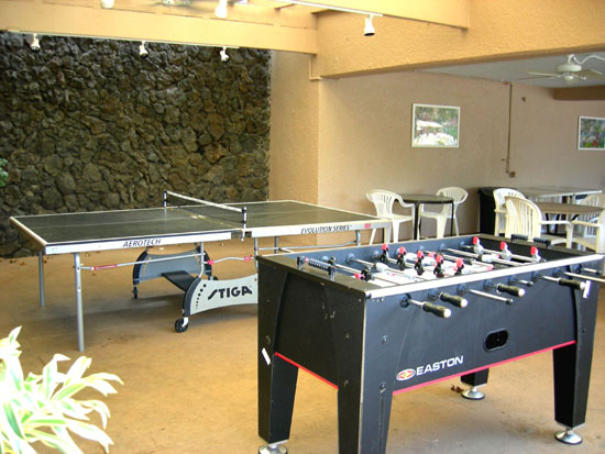 Ping pong and foosball in the pool area